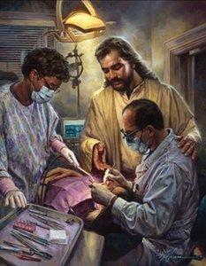 Nathan Greene in guten Händen Jesus Zahnarzt Zahnmedizin Hauptdekor handgemaltes HD-Druck Ölgemälde auf Leinwand Große Wand-Kunst-200705