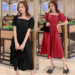 5383 # Still-Kleidung-Sommer-Fest Farbe Baumwolle Kurzarm lose stilvolles Kleid für schwangere Frauen Mom Kleid P8Ar #