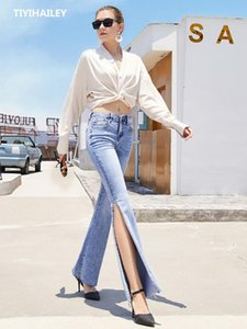 TIYIHAILEY Free Shipping Fashion Women Summer Long Flare Pants Jeans Boot Cut Plus Size 25-30 Trousers For Tall Women Slit Sexy