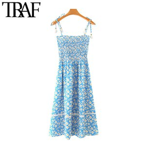 TRAF Women Chic Fashion Floral Print Elastic Smocked Midi Dress Vintage Patchwork Tassel Tied Straps Female Dresses