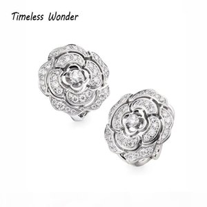 Timeless Wonder Crystal Zirconia Camellia Stud Earrings Women Fancy Jewelry Gothic Top Rare Trendy Set Bride Gift 2522