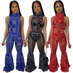 Femmes deux pièces Ensemble Sexy Party Bandanna Imprimer Body Body Pantalon Suit Fashion TrackSuit Fitness Outfit Association Set