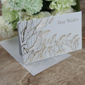 multi-use 25pcs gold leaves best wishes Card with envelope Scrapbooking party invitation DIY Decor gift party card