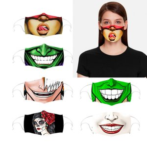 Retractable Ear-hanging Facial Smile Expression cartoon Designer face mask dust-proof mask personalized parody cross-border breathable Mask