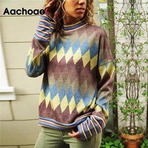 Aachoae Женщины Блузы 2020 Геометрических печати с длинным рукавом Повседневной Сыпучей Stand Collar Блуза Топ Streetwear Женщина Мундир Blusas