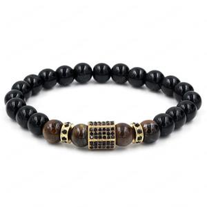 4 Styles Black King Kong Stone Tiger Eye Diamond Wheel Bead Separator Bracelet Brangle for Men Women Fashion Accessories