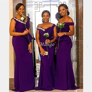 Plus Size African Mermaid Bridesmaid Dresses Long Off The Shoulder Pleats Wedding Guest Dresses Customized Sweep Train