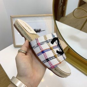 2020 New Women Flax Slippers Summer Indoor Shoes Wave pattern Home Slipper Woman Open Toe Linen Belt Slides Female Sandals