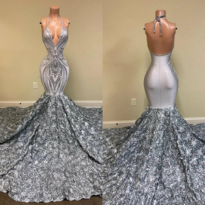 Real image Mermaid Silver Evening Formal Dresses 2020 Halter Sparkly Lace Sequins 3D Rose Floral Long Train Backless Prom Gowns
