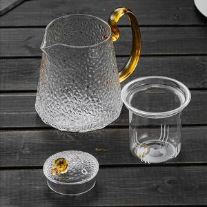 Chinese Kung Fu Teapot Creative Hammer Pattern Glass Cup Teapot Teaset Home Cooking Tea High Temperature Filter Flower Tea Pot
