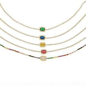 O Rainbow Cz 32 +8cm Choker Necklace For Lady Women Trendy Jewelry Delicate Thin Cz Tennis Chain Birthstone Diamond Fashion Jewelry
