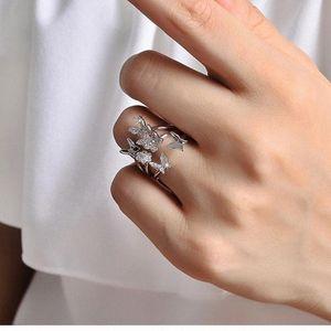 QMHJE ajustable tamaño del anillo de las mujeres de plata circón cúbico de oro rosa de la mariposa de la banda compromiso de la boda, las mujeres joyas de cristal 222 6kDh #
