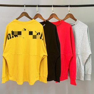 Beauty tide PALM simple back letter long sleeve PA casual sports loose round neck long sleeve T-shirt men and women