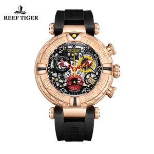 Reef Tiger RT Top Brand Mens Sport Watches Rose Gold Skeleton Watches with Chronograph reloj hombre masculino RGA3059-S T200409