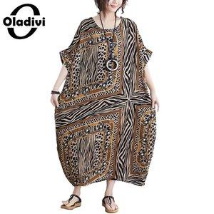 Oladivi Oversize Plus Size Women Apparel Summer Fashion Print Bohemian Dress Lady Casual Loose Maxi Long Dresses Female Vestidio