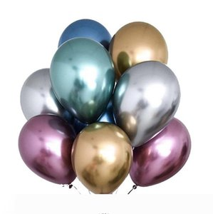 2020 New 50pcs Set 12inch Glossy Metal Pearl Latex Balloons Thick Chrome Metallic Colors Inflatable Air Balls Globos Birthday Party decorati