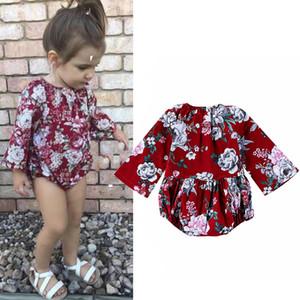 Baby Girl Ретро цветочные Romper Одежда Цветок красный Комбинезон осень весна с длинными рукавами Botique Kid Девочки Одежда Bodysuit M2420