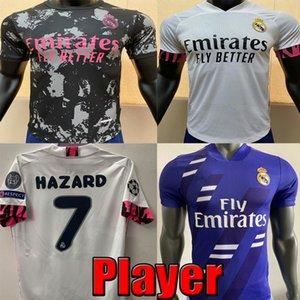 20 21 Real Madrid Player version BENZEMA Hazard soccer jersey 2020 2021 real madrid home SERGIO RAMOS KROOS ISCO jerseys football jerseys