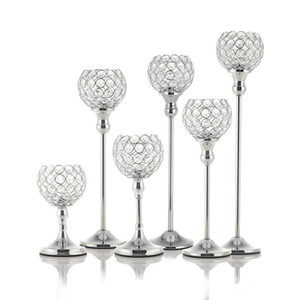 New Crystal Candle Holders Metal Candlestick Glass Stand for Wedding Dining Table Centerpieces Holiday Home Decoration Gift