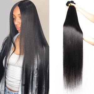 Объемная волна 30-38inch Сырье человеческих волос Связка предложение 10А Бразильский Девы волос Extensions перуанского волос Remy Straight Long Длины Индийской
