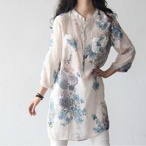 Johnature Floral Print Cotton Linen Size S-XXXL Women Long Blouse 2020 New Spring Summer Loose Soft Plus Size Long Shirt Y200622