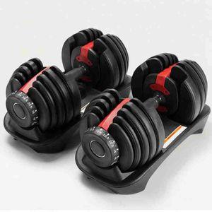 قابل للتعديل الدمبل 2.5-24kg أوزان للياقة البدنية التدريبات الدمبل بناء عضلاتك مستلزمات اللياقة البدنية معدات ZZA2196 الشحن البحري
