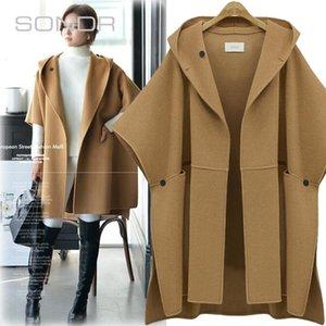 2020 Autumn and Winter Bat Sleeve Cloak Woolen Coat Large Size Dress Loose Woolen Cloth Street Fashion Slim Slimming Coat Women
