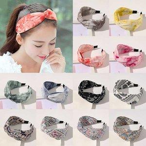 Acessórios de cabelo Cruz Knot Mulheres Headband Caju Imprimir pano cabelo Hoop cabeça larga Hoop Tie-dye Gradiente DIY Turban