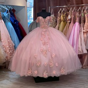 Romantic 3D Floral Flowers Blush African Prom Dresses Ball Gown Off the shoulder Beaded Sequin Evening Formal Gowns Pageant Celebrity Dress