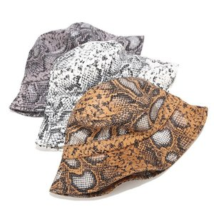 Leather Snake Print Bucket Fisherman Outdoor Hiking And Camping Camping & Hiking Travel Hat Unisex Sun Hat Foldinglkl8#