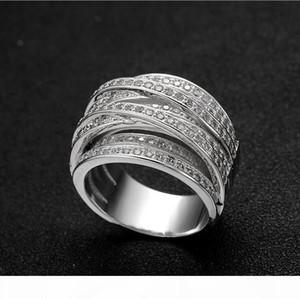R 2017 nueva joyería de la manera de la llegada de lujo 10 quilates de oro blanco llenado de alta calidad 5a Circonita Mujeres compromiso de la boda anillo de la venda regalo de Si