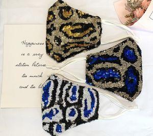Fashion sequined leopard print mask mesh Mask Breathable Foldable Mouth Masks Reusable Reusable Anti-Dust Protective Masks