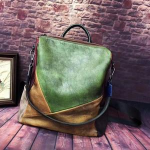 Bolso ABER mujeres de la vendimia 2020 Mochila Nueva mano limpiando color al azar de mezcla de cuero genuino hecho a mano bolsas de viaje