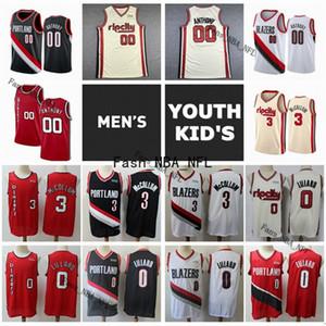 Mens Juvenil Kids Damian Lillard 0 auténtico C. J. 3 McCollum cosido 00 Carmelo Anthony PortlandSenderoBaloncesto Jersey Blazers