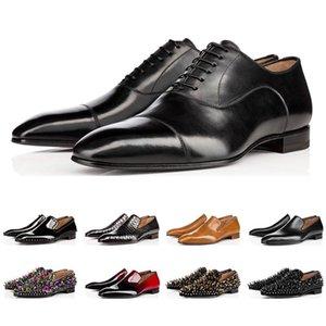 sslouboutinCLNew fashion designer mens shoes loafers black red spike Patent Leather Slip On Dress Wedding flats bottoms Shoe