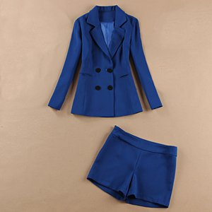 Women's pants suit high quality 2020 new spring and autumn long sleeve slim blue suit jacket feminine Slim shorts office