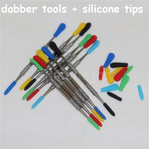100pcs Wax dabbers Dabbing tool with silicone tips 120mm glass dabber tool Stainless Steel Pipe Cleaning Tool silicone nectar collectors