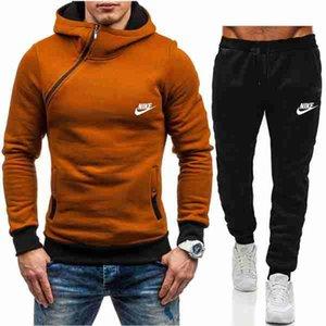 la vendita Set calda tuta con cappuccio della tuta pantaloni da uomo Uomo Abbigliamento Felpa Pullover Casual Male Tennis Sport Tuta vestito di sudore NO.4D