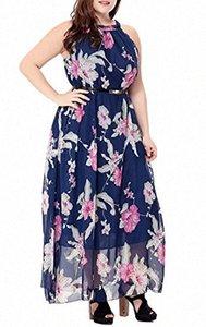 Afibi para mujer sin mangas de la impresión floral de Bohemia de la playa de la gasa maxi vestidos de verano vestidos de tienda online Vestidos vpxv #