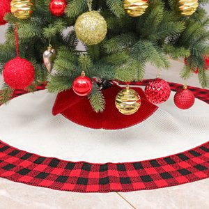 Acrylic High-End Christmas Tree Skirt Apron Christmas Red and Black Grid Tree Skirt