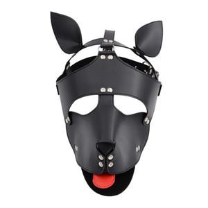Máscaras atractiva perro señora Máscara Juego Sombrero BDSM Restricciones de Esclavitud perro de Cosplay del traje erótico SM esclavo arnés mitones Sex Toys Y200616