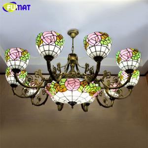 Suspensão Fumat Stained Glass Chandelier Europeu de vidro Vintage Light Bar Café Sala Hanging Lamp Pendientes Luster