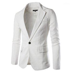 Casual Coats Frühling Herbst Fest Farbe Leinen-Mix Jacken Einreiher Mode Oberbekleidung Herren-Anzug Thin