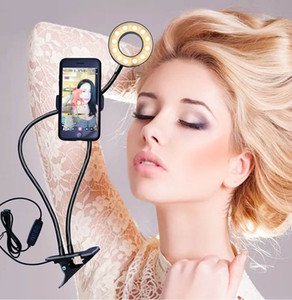 10pcs Selfie Ring Light With Long Arm Lazy Mobile Phone Holder Bracket Photography ringlight LED Light For Youtube tik tok Live Stream ZY-ZJ