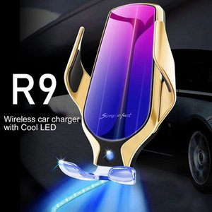 wireless charger 10W fast R9 automatic clamping Air Vent phone Holder car charger with falsh LED light iphone charger