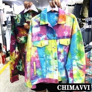Весна и осень Новых BF Ветров джинсов Coat женщины ретро цвет Tie-Dye коротких джинсовых куртки Top Streetwear Femme Прохладной обрезанные куртки