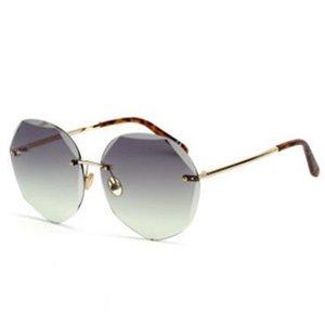 New 2019 sunglasses lady 1092 round cut sunglasses fashion sunglasses rimless cut ocean slice