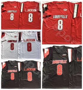 Hombres caliente Louisville Calidad Blanco Rojo 8 Lamar Jackson University College Football Jersey transpirable bordado y costura del color del equipo Negro