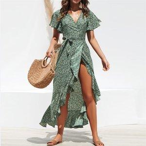 여성 드레스 섹시한 V 넥 쉬폰 비대칭 드레스 디자이너 폴카 도트 자연 색상 짧은 소매 드레스 여성 의류
