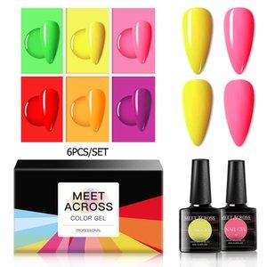 MEET ACROSS 6Pcs Fluorescent Color Nail Gel Polish Set 8ml Long Lasting Nail Art Manicure LED Soak Off Neon Color Lacquer